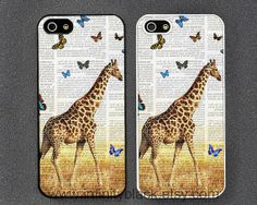 Giraffe with butterfly art print Dictionary book by InfinityBlack, $9.99