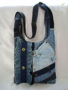 """Двусторонняя джинсовая сумка """"MICHEL"""" - купить или заказать в интернет-магазине на Ярмарке Мастеров - 6KUGLRU   Джинсовая сумка для мобильной девушки, подарит …"""