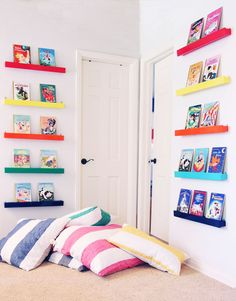 Hedgehouse throwbeds, how to create a colorful library for kids, playroom, land of nod, @psstudio, pencil shavings studio www.pencilshavingsstudio.com