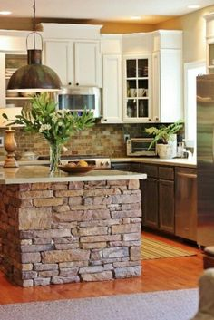 The modern cooking island in the kitchen - 20 startling ideas for .- Interesting kitchen design with stone island Source by elamahler - Homemade Kitchen Island, Farmhouse Kitchen Island, Rustic Kitchen Cabinets, Modern Kitchen Island, Kitchen Decor, Kitchen Islands, Stone Kitchen Island, Design Kitchen, Rustic Farmhouse