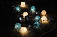 20 x Shaded Blue color cotton ball Bali lantern string light patio outdoor decorate deco room bedroom wedding patio party Beach balcony. $12.99, via Etsy.