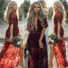 Women's V Neck See-through Short Sleeve Floral Evening Cocktail Long Maxi Dress in Clothing, Shoes & Accessories, Women's Clothing, Dresses Boho Chic, Hippie Chic, Hippie Style, Bridesmaid Dresses, Prom Dresses, Dress Prom, Gown Dress, Bride Dresses, Summer Dresses