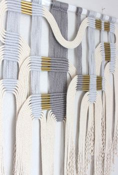 "Macrame Wall Hanging ""gry + wht #2"" by HIMO ART, One of a kind Handcrafted Macrame, rope art by HIMOART on Etsy https://www.etsy.com/au/listing/514974851/macrame-wall-hanging-gry-wht-2-by-himo"
