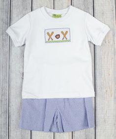 Loving this White Baseball Tee & Gingham Shorts - Infant, Toddler & Girls on #zulily! #zulilyfinds