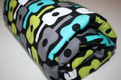 Minky Baby Blanket  Groovy Guitars with Teal or by modernmadebaby, $35.95