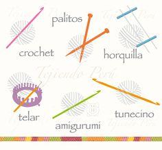 Símbolos que usamos para indicar la técnica de tejido en los videos de nuestro canal de YouTube :) Crochet o ganchillo, palitos o dos agujas, telar, amigurumi y tunecino...