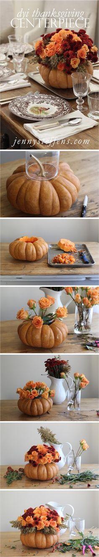 DIY Step-by-Step Rose & Mum Centerpiece in a Pumpkin for Thanksgiving Thanksgiving Table Setting & Centerpiece http://jennysteffens.blogspot.com/2012/11/diy-thanksgiving-centerpiece-roses-mums.html
