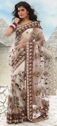$536.09 Ivory Net Saree 13192
