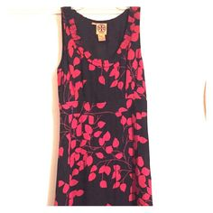 Tory Burch cocktail dress. Red and black, cherry blossom dress. Perfect for work or date night! Tory Burch Dresses
