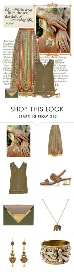 """Free Spirit"" by seafreak83 ❤ liked on Polyvore featuring Flash Tattoos, Valentino, River Island, Dareen Hakim, Accessorize, maxiskirt, boho, wild and Bohemian"