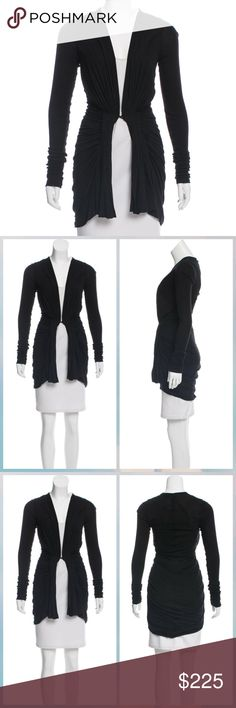 """Rick Owens Lilies Black Cardigan Long sleeve cardigan with gathered fabric at waist and hook-and-eye closure at center front. Very lightweight, material feels like stretchy jersey material rather than sweater material. Bust: 34"""" Waist: 12.25"""" Length: 38"""" Fabric: 70% Viscose, 15% Cotton, 15% Polyamide Size: IT 40 / US Small Brand: Rick Owens Lilies Rick Owens Sweaters Cardigans"""
