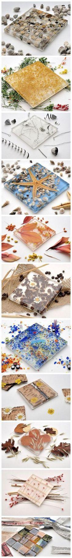 Más original imposible, ¿te gustan estos azulejos con resina epoxi y materiales de la naturaleza?, pues bien si quieres realizarlos te ...