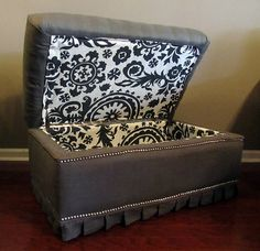 For Red Ottoman-- reupholstered ottoman-great idea. I prefer these hinges to the piano bench hinge. Refurbished Furniture, Upcycled Furniture, Shabby Chic Furniture, Furniture Makeover, Diy Furniture, Furniture Refinishing, Reclaimed Furniture, Red Ottoman, Ottoman Ideas