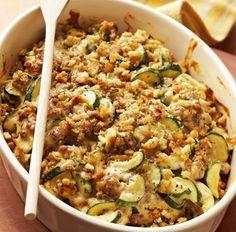 Servings: 8     Ingredients   1 pound bulk pork sausage  4 medium zucchini  1 (10¾-ounce) can condensed cream of chicken soup  1 (8-...
