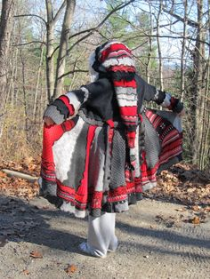 Upcycled, repurposed, recycled,OOAK, sweater coat, gypsy, faery, elf, pixie, hippie, coat, sweater, S/M,red, gray, black. $249.99, via Etsy.
