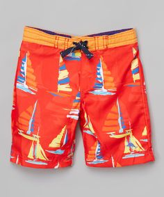 Loving this Red Sailboat Boardshorts - Infant, Toddler & Boys on #zulily! #zulilyfinds