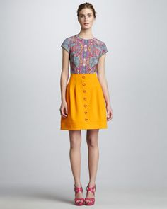 Diggin the Button-Front Skirt...color, all of it.