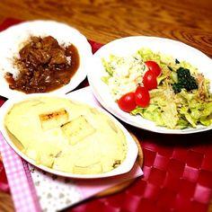 カレーができていたので、冷蔵庫の中身と相談で実験的料理。 豆腐と大量のネギを消費するために…。 - 107件のもぐもぐ - 姉作牛スジカレー・大皿サラダ・豆腐と山芋のホワイトソースで長ネギのグラタン by madammay