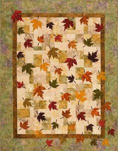 Pretty for Fall. Plum Tree Quilt Patterns - Falling Leaves Quilt Pattern