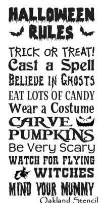Halloween Rules Stencil for signs
