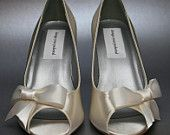 SAMPLE SALE Wedding Shoes -- Ivory Peeptoe Wedges with Off-Center Ivory Bow Size 6 ONLY