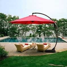 Grand patio Outdoor 11 FT Offset Umbrella with Base Included, Curved and Cantilevered, Aluminum (Brick Red Cantilever Patio Umbrella, Best Patio Umbrella, Pool Umbrellas, Outdoor Umbrellas, Dining Furniture Sets, Furniture Sale, Outdoor Furniture, Offset Patio Umbrella, Framed Fabric