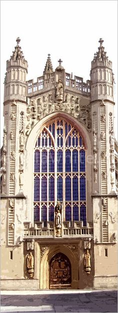 Perpendicular Gothic architecture of Bath Abbey.