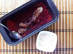 Baked oatmeal with beet and soy jogurt