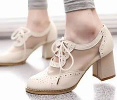 Cutout Mesh Block Heel Lace Up Oxford Shoes [grzxy61900394]