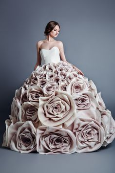 Sculptural Fashion - voluminous dress with giant fabric roses skirt - 3D flower fashion; wearable art // Jean Louis Sabaji