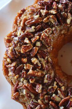 Pecan Updside Down Bundt Cake Recipe - Practically Homemade - Desserts - Fall Desserts, Just Desserts, Delicious Desserts, Thanksgiving Desserts, Pecan Desserts, Cake Mix Desserts, Cake Mix Recipes, Baking Recipes, Dessert Recipes