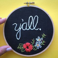 Yall, this friendly greeting is hand stitched with cotton thread on black linen and set in a 5 wooden hoop. Hang it in a gallery wall collection of your favorite art pieces or set it on a bookshelf for a little pop of color and texture. -MADE TO ORDER, ready in 1-2 weeks. Please talk to me about a rush order if you need. -I refund shipping overages on multiple hoop orders 😊 -Back is closed and finished, ready for hanging on your wall -Stitched with love in Austin, TX -Because my hoops are…