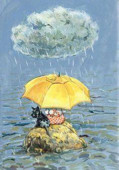 Bwrw Glaw: Friends in the Rain pieces) Rain Umbrella, Under My Umbrella, Yellow Umbrella, Walking In The Rain, Singing In The Rain, Rain Painting, Rain Art, Going To Rain, Rain Drops