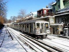 Slant-front R-40 subway cars, introduced in the mid-1960s, have all but disappeared from subway tracks by 2013. This is from a few years ago on the Brighton line, now the B and Q trains.