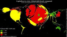 Cartographs: thanks goodness we're in the green.  As the world continues to try to make sense of the full context and implications of the financial crisis, University of Sheffield postgrad Ben Henning took a look at the real dimension of the world's external debt. The map reflects the ratio of debt to GDP, based on 2010 estimates by the World Bank and CIA.
