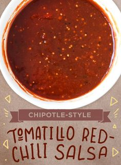 How to make Chipotle-style salsa roja! Hot Salsa Recipes, Chili's Salsa Recipe, Chipotle Copycat Recipes, Homemade Chipotle, Sauce Recipes, Mexican Food Recipes, Cooking Recipes, Fondue Recipes, Smoker Recipes