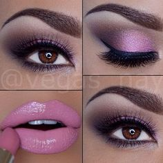 Not a fan of lip color, but love they eye make-up Cute Makeup, Gorgeous Makeup, Pretty Makeup, Lip Makeup, Peach Makeup, Purple Makeup, Sexy Makeup, Beautiful Lips, Lila Palette