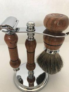 Custom made Mesquite and Chrome safety razor and brush kit