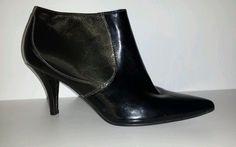 Nine West Packrat Women's Black Patent Leather Ankle Boot *L@@k* Size 6.5 #53 #NineWest #Heels