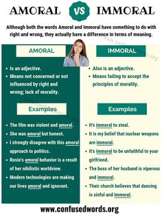 Learn English vocabulary with example sentences: amoral and immoral
