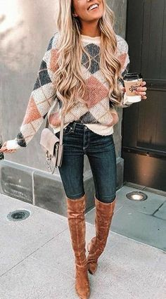 32e3945511f brown and gray argyle knit sweatshirt brown boots outfit