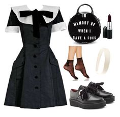 """""""lolita"""" by twyzter ❤ liked on Polyvore featuring Valentino, Hue, Killstar, Marc by Marc Jacobs and MAC Cosmetics"""