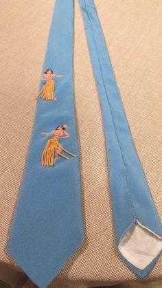 d93cd69b0832 Vintage Men s Blue Hawaiian Hula Girl Neck Tie by GoodBadandLovely,  28.00  Vintage Man, Vintage