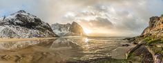 https://flic.kr/p/TeFCoc   Tema Foto Lofoten tur Kvalvika HDR Panorama   I have been to Kvalvika today in Lofoten and what a place it is. This is picture of the sandbank with fresh water river entering the sea while thw waves are pulling back. It is a Panorama HDR picture, consisting of 15 pictures.