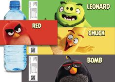 Angry Birds Movie Themed Water Bottle Labels 4 by Crea8iveDesign