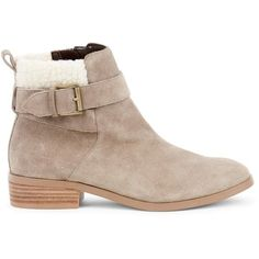Sole Society Austen Faux Shearling Bootie (3.345 RUB) ❤ liked on Polyvore featuring shoes, boots, ankle booties, mushroom, sole society booties, sherpa boots, sole society, bootie boots and short boots