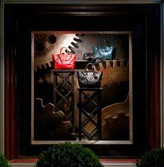 The Soft Ricky Bag takes Japan - the display in our Omotesando store windows Bag Display, Display Ideas, Fashion Showroom, Fashion Displays, Window Casing, Store Windows, Wmf, Window Dressings, Window Art