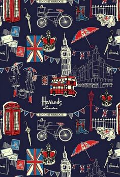 London illustration by Harrods Whats Wallpaper, Arte Obscura, British Things, London Calling, Art Design, Creative Design, Union Jack, British Isles, Great Britain