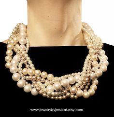 ORIGINAL TWISTED Statement Necklace Ivory by JewelryByJessicaT, $95.00