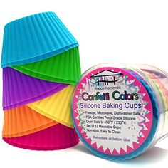 Confetti Colors Silicone Baking Cups - Set of 12 Reusable Muffin/Cupcake Liners in Festive Colors Happy Hacienda Cupcake Liners